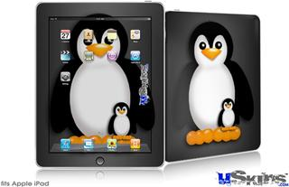 iPad Skin - Penguins on Black