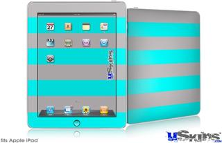 iPad Skin - Psycho Stripes Neon Teal and Gray