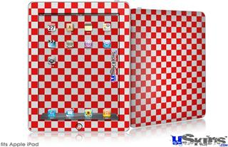 iPad Skin - Checkered Canvas Red and White