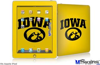 iPad Skin - Iowa Hawkeyes Tigerhawk Oval 01 Black on Gold