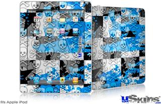 iPad Skin - Checker Skull Splatter Blue