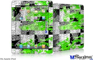 iPad Skin - Checker Skull Splatter Green