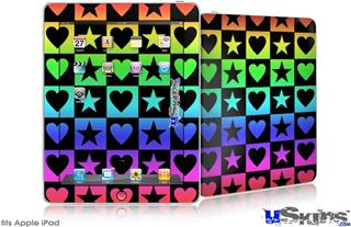 iPad Skin - Hearts And Stars Rainbow