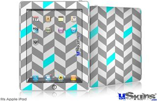 iPad Skin - Chevrons Gray And Aqua
