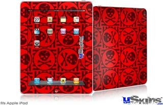 iPad Skin - Skull Patch Pattern Red