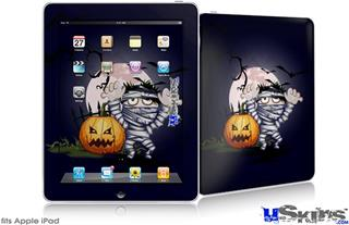 iPad Skin - Halloween Jack O Lantern Pumpkin Bats and Zombie Mummy