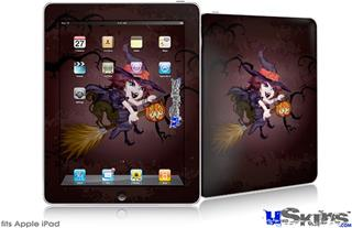 iPad Skin - Cute Halloween Witch on Broom with Cat and Jack O Lantern Pumpkin
