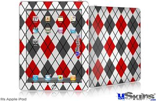 iPad Skin - Argyle Red and Gray