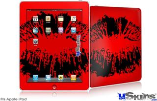 iPad Skin - Big Kiss Black on Red