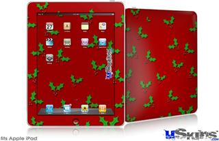 iPad Skin - Holly Leaves on Red