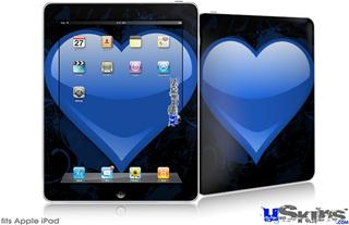 iPad Skin - Glass Heart Grunge Blue