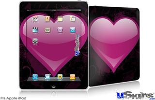 iPad Skin - Glass Heart Grunge Hot Pink