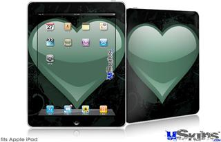 iPad Skin - Glass Heart Grunge Seafoam Green