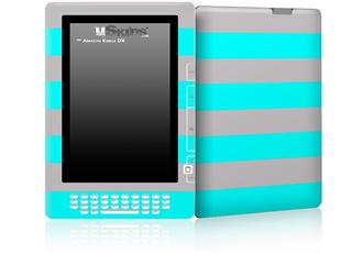 Psycho Stripes Neon Teal and Gray - Decal Style Skin for Amazon Kindle DX