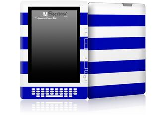 Psycho Stripes Blue and White - Decal Style Skin for Amazon Kindle DX