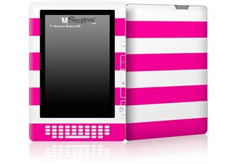 Psycho Stripes Hot Pink and White - Decal Style Skin for Amazon Kindle DX