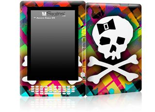 Rainbow Plaid Skull - Decal Style Skin for Amazon Kindle DX