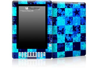 Blue Star Checkers - Decal Style Skin for Amazon Kindle DX