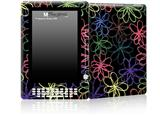Kearas Flowers on Black - Decal Style Skin for Amazon Kindle DX