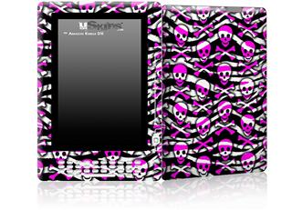Zebra Pink Skulls - Decal Style Skin for Amazon Kindle DX