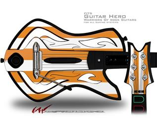 Psycho Stripes Orange and White Decal Style Skin - fits Warriors Of Rock Guitar Hero Guitar (GUITAR NOT INCLUDED)