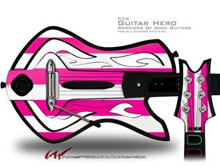 Psycho Stripes Hot Pink and White Decal Style Skin - fits Warriors Of Rock Guitar Hero Guitar (GUITAR NOT INCLUDED)