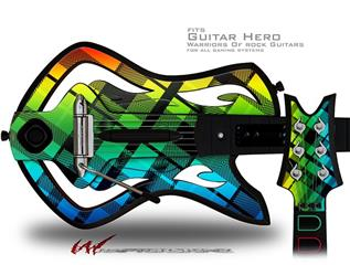 Rainbow Plaid Decal Style Skin - fits Warriors Of Rock Guitar Hero Guitar (GUITAR NOT INCLUDED)