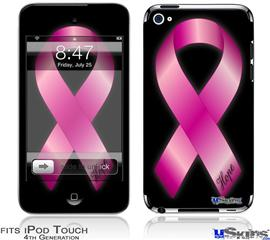 iPod Touch 4G Decal Style Vinyl Skin - Hope Breast Cancer Pink Ribbon on Black