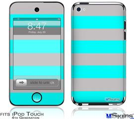 iPod Touch 4G Decal Style Vinyl Skin - Psycho Stripes Neon Teal and Gray