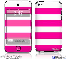 iPod Touch 4G Decal Style Vinyl Skin - Psycho Stripes Hot Pink and White