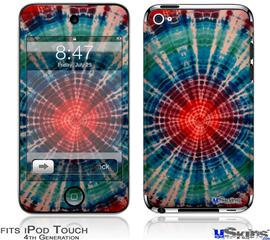 iPod Touch 4G Decal Style Vinyl Skin - Tie Dye Bulls Eye 100