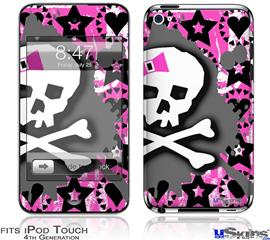 iPod Touch 4G Decal Style Vinyl Skin - Pink Bow Skull