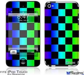 iPod Touch 4G Decal Style Vinyl Skin - Rainbow Checkerboard