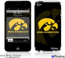 iPod Touch 4G Decal Style Vinyl Skin - Iowa Hawkeyes Herkey Gold on Black