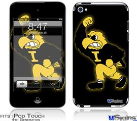 iPod Touch 4G Decal Style Vinyl Skin - Iowa Hawkeyes Herky on Black