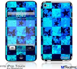 iPod Touch 4G Decal Style Vinyl Skin - Blue Star Checkers