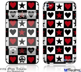 iPod Touch 4G Decal Style Vinyl Skin - Hearts and Stars Red