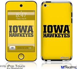 iPod Touch 4G Decal Style Vinyl Skin - Iowa Hawkeyes 01 Black on Gold
