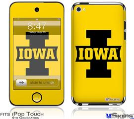 iPod Touch 4G Decal Style Vinyl Skin - Iowa Hawkeyes 04 Black on Gold