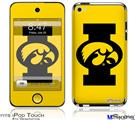 iPod Touch 4G Decal Style Vinyl Skin - Iowa Hawkeyes Tigerhawk Oval 02 Black on Gold