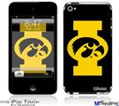 iPod Touch 4G Decal Style Vinyl Skin - Iowa Hawkeyes Tigerhawk Oval 02 Gold on Black