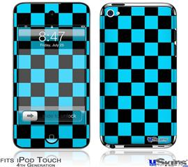iPod Touch 4G Decal Style Vinyl Skin - Checkers Blue
