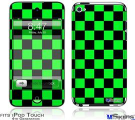 iPod Touch 4G Decal Style Vinyl Skin - Checkers Green