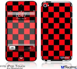 iPod Touch 4G Decal Style Vinyl Skin - Checkers Red