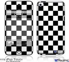 iPod Touch 4G Decal Style Vinyl Skin - Checkers White