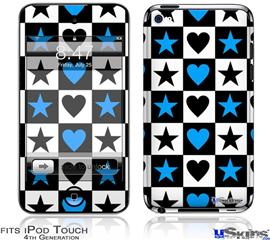 iPod Touch 4G Decal Style Vinyl Skin - Hearts And Stars Blue