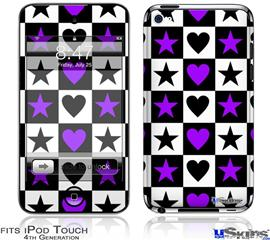 iPod Touch 4G Decal Style Vinyl Skin - Purple Hearts And Stars