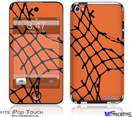 iPod Touch 4G Decal Style Vinyl Skin - Ripped Fishnets Orange