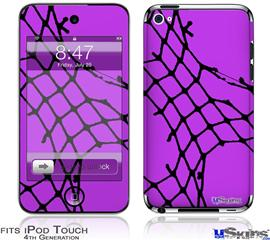 iPod Touch 4G Decal Style Vinyl Skin - Ripped Fishnets Purple