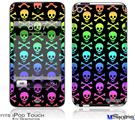 iPod Touch 4G Decal Style Vinyl Skin - Skull and Crossbones Rainbow